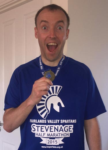 Andy 2015 Stevenage Half Marathon Finish Web2